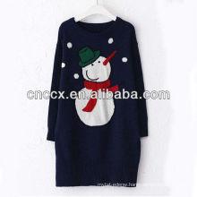13STC5478 top sweater snowman jacquard sweater dress christmas