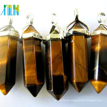 Natural tigers eye stone pendant with metal silver plate wholesale