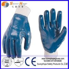 Knit Handgelenk blau Nitril voll beschichtet Baumwolle Interlock Liner Nitril Handschuhe