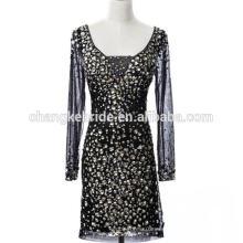 Moda Sexy vestido de cóctel patrones de vestido de Bling Bling vestido de fiesta de manga larga