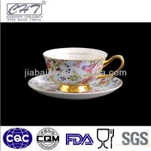 220ML Taza de café de porcelana de diseño idílico y juego de platillos