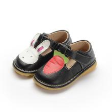 Schwarze Mädchen Baby Schuhe Kaninchen Karotte T Strap Schuh