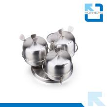 Hot Sale 3 pièces en acier inoxydable Rotating Spice Jar Set