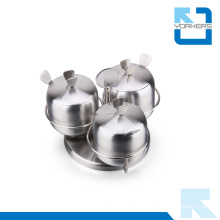 Hot Sale 3 Pieces Stainless Steel Rotating Spice Jar Set
