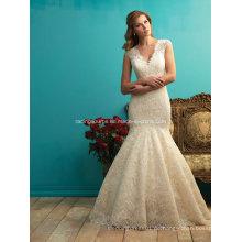 Elfenbein-Sleeveless Spitze-Hochzeits-Kleid sehen durch Brautkleid