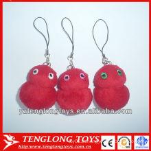 O animal vermelho bonito do luxuoso brinca keychain, mini e animal enchido chaveiros