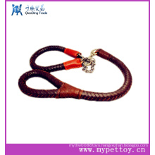 Fashion Spiral Braided Leather with Chain Pet Leash