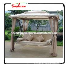 Shinygarden garden outdoor steel metal frame patio gazebo hanging swing chair bed