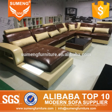 SUMENG unique design brown beige color leather sectional sofa set with LED light