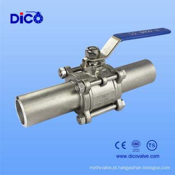 Válvula de esfera de solda estendida da classe industrial 3PC