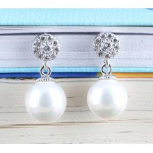 925 Nadeln einfache CZ Silber Perle Ohrringe vergoldet