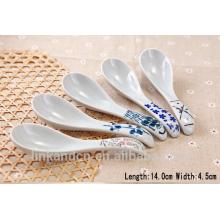 SP1525 Haonai ceramic white spoon with printing