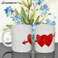 Sublimation white mug with heart color changing hot water color changing mug wholesale
