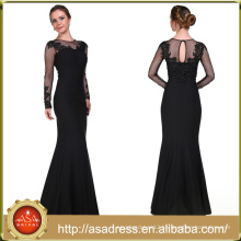 ABI-09 See Through Appliques O-neck Long Mother Dresses with Long Sleeves Custom made Mother Of the Bride Dresses