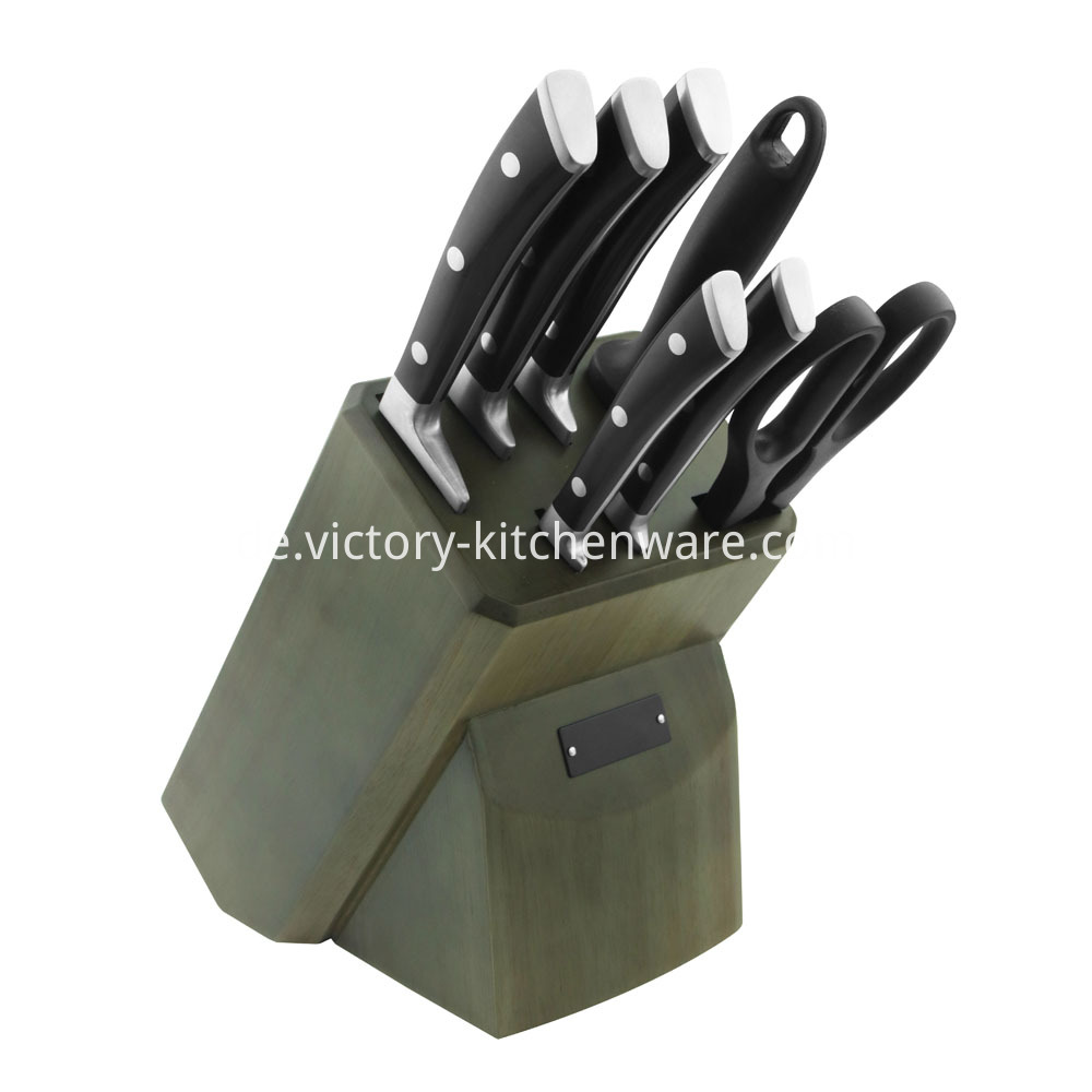 Kitchen knive set with block