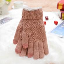 Sweet Pink Touch Screen warme Handschuh Jacquard stricken Frauen Handschuh. Großhandel