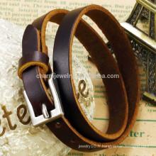 2015 nouvelle mode marron bracelet en cuir véritable bracelet en argent boucle unisexe classique PH768