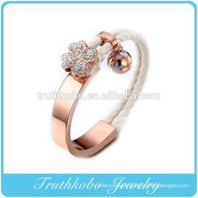Vacuum Plating Rose Gold Designer Charm Bracelets Givency Men & Women Lucky Clover Genuine Leather Steel Bracelet Jewelry