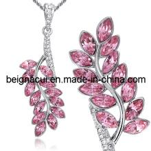Sw Elements Crystal Light Rose Collier à la feuille en couleur