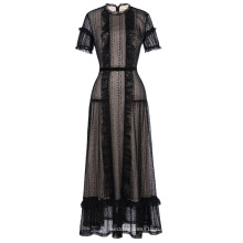 Катя Касин потрясающие коротким рукавом кружева Черное вечернее платье длинное вечернее платье KK001084-1