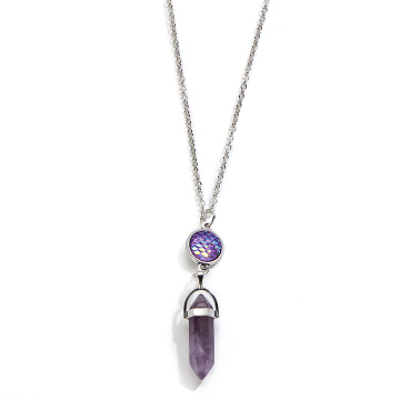 fish's scales hexagonal prism Amethyst Necklace