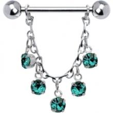 Piercing no mamilo essência Chain Drop de jóias Zircon azul