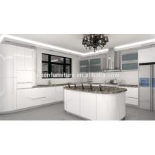 Círculo de diseño lacado blanco de alta brillante gabinete de cocina
