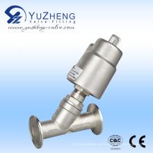 Válvula de assento de ângulo de controle pneumático de aço inoxidável com conexão flangeada