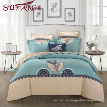 Luxury Comfortable Adult Queen Size60s Hotel embroidery sets top 5 star hotel Super soft cotton flax bedding sets