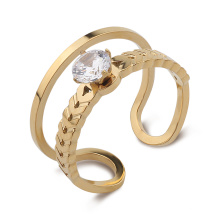 18K Gold Plated Open Cubic Zirconia Prong Setting Adjustable Wedding Engagement Bridal Ring