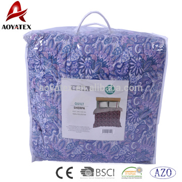 Face 100% polyester microber quilt,back sherpa fabric with 120gsm bonded filling