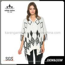 Damen Fransen Saum flauschig stricken Argyle Sweater