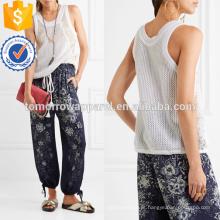 Lace-paneled Open-malha de algodão Top Fabricação Atacado Moda Feminina Vestuário (TA4114B)