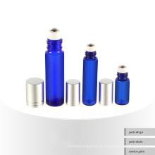 3ml 5ml 10ml rolo em garrafa cosmética azul do soro, frasco cosmético de vidro, frasco cosmético