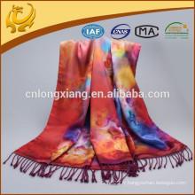 Écharpe en écharpe en écharpe en soie de Pashmina de nouvelle femme Écharpes en écharpe florale Rose Étain imprimé en hiver