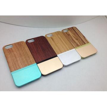 Cubierta combinada de madera del teléfono celular del metal de aluminio para el iPhone 6