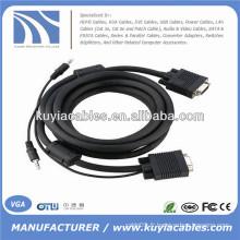 Câble VGA 15PIN avec audio 3,5 mm pour PC TV