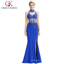 Grace Karin 2016 Newest Backless Halter High Split Long Blue Evening Gowns Free Prom Dress GK000050-1