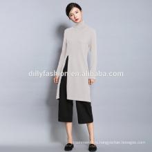 Новая мода высокого шеи тонкий длинный свитер женщин высокого щелевая кнт свитер
