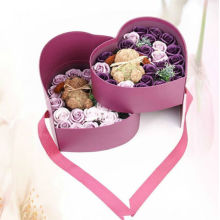 Custom Luxury Double Heart Shape Blommepapper Box