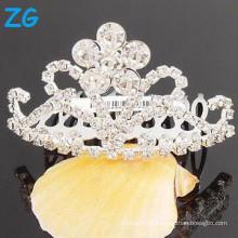 Venda Por Atacado Rhinestone cabelo pente barrette francês grampos de cabelo para meninas pente de tiara do casamento