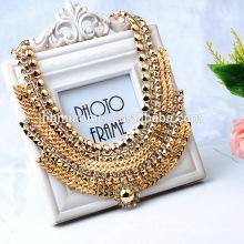 2017 mode-accessoires OEM design mode halskette metall legierung halsketten Diamant