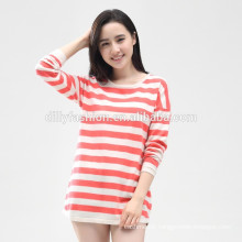 new design women's color horizontal stripes cashmere sweater