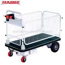 Electric Platform Cart With Fence for Material Handling