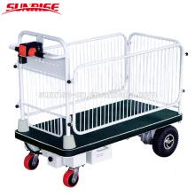 Trole elétrico da mão do carro da plataforma de 4 rodas com a cerca para o material que entrega