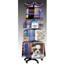 Customized Size Metal Multi-Layer Rotating Floor Standing Paper Package Handbag Display Shelf