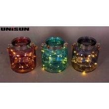 Decoración de muebles Artesanía de vidrio ligero con cadena de cobre Iluminación LED (9103)