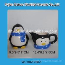 Pote de azúcar de cerámica de alta calidad de la penguina y tarro de la leche fijaron