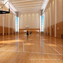 Antislip 22mm Innensport-Basketballplatz-Ahornholz-Bodenbelag fest