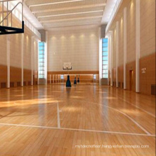 Antislip 22mm Indoor Sport Basketball Court Maple Wood Flooring Solid